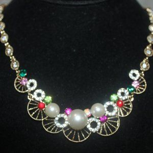 Nwt: Half Wagon Wheel Clear Crystals, Necklace